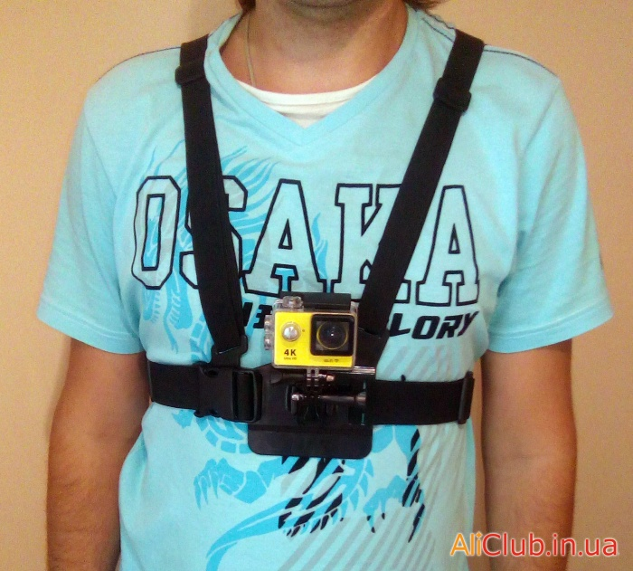 Sports, recreation, tourism: Mounting on the body (chest) for GoPro action cameras, SJ4000 or Eken H9