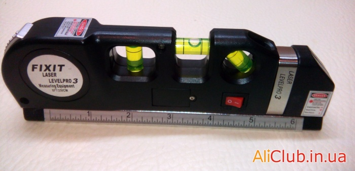 tools, repairs: laser level with a tape measure and ruler FIXIT laser LevelPro 3