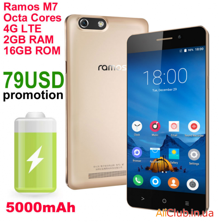 Phones and accessories: Review Ramos M7 - 8-core HD smartphone for MTK6753 with a 5000mAh battery for$ 79